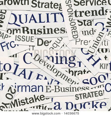 Seamless background, made of newspaper clippings. Business theme.