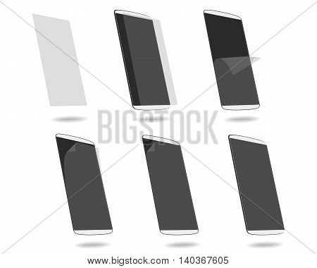 White smart phones protection film on screen set different angles. Vector illustration. EPS 10. No gradients. Raw materials are easy to edit.