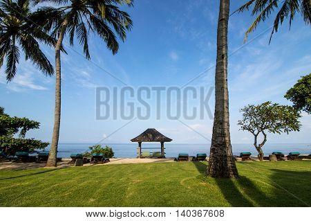 Beach cabana at a Lombok breezy seaside