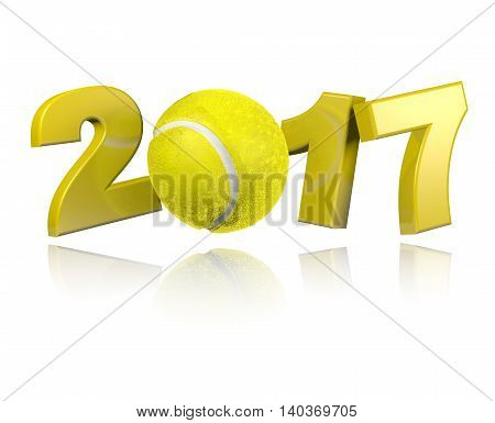 Tennis 2017 3D illustration with a White Background
