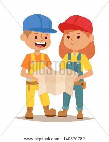 Builders kids boy and girl builder with tools. Vector character builder kid, cute child construction. Little person work equipment. Fun young profession.