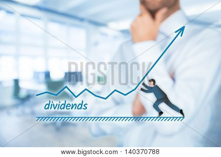 Increase dividends concept. Shareholder plan (predict) dividends growth represented by graph.