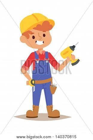 Builders kid with drill builder with tools. Vector character builder kid, cute child construction. Little person work equipment. Fun young profession.