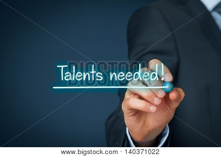 Talents needed - human resources concept. Recruiter looking for (search) talented employees.