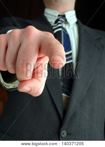 business superior pointing finger or blame and looking down