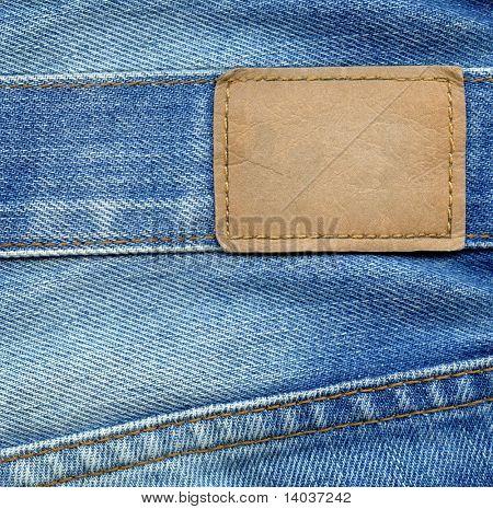 leere Leder Jeans-label