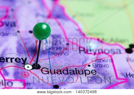 Guadalupe pinned on a map of Mexico