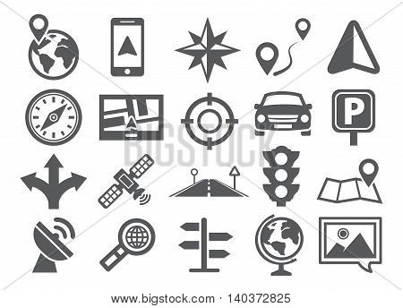 Gray Navigation icon set on white background
