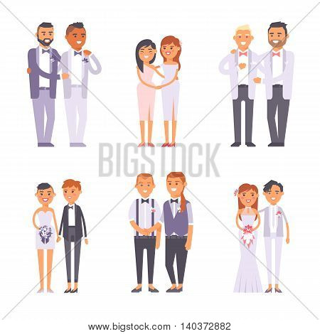 Happy gay couple in wedding attire and casual clothes. Gender civil union romance wedding gay couples together boyfriend ceremony. Homosexual marriage happy groom wedding gay couples vector.