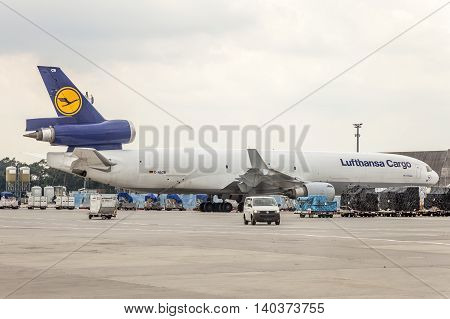 FRANKFURT GERMANY - JULY 24 2016: Lufthansa Cargo MD-11 Freighter at the Frankfurt International Airport