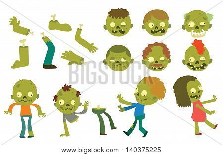 Colorful zombie scary cartoon characters and magic people body cartoon fun. Cute green cartoon zombie character part of body monsters vector illustration. Horror zombie people isolated