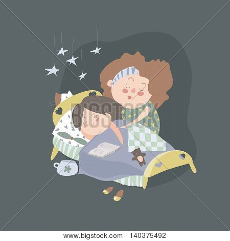 Mom kisses daughter at bedtime. Vector illustration