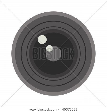 Camera photo optic lense on white background vector. Objective equipment, professional look photo optic lense. Photo optic lenses digital equipment optical technology.