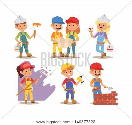 Builders kids boys and girls builder with tools. Vector character builder kids, cute child construction. Little person work equipment. Fun young profession.
