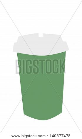 Dark green cardboard take out drink cup with straw isolated on white. Isolated beverage plastic container take out drink cup. Disposable paper take out drink cup cold unhealthy fast food.