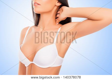 Close Up Portrait Of Shapely Young Woman In White Bra