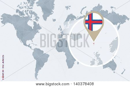 Abstract Blue World Map With Magnified Faroe Islands.