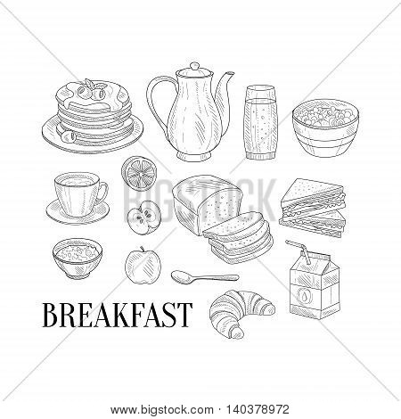 Breakfast Related Isoated Food Items Hand Drawn Realistic Detailed Sketch In Classy Simple Pencil Style On White Background