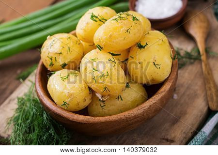 Boiled New Potatoes Seasoned With Dill And Butter