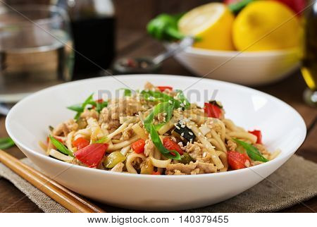 Udon Noodles With Meat And Vegetables In An Asian Style