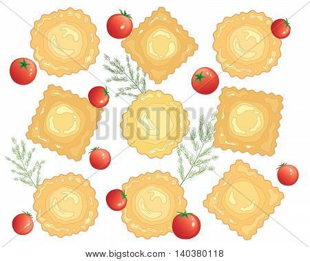 an illustration of an advert for freshly made ravioli pasta with cherry tomato and dill garnish on a white background