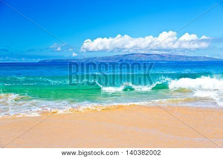 Ocean Surf in a Tropical Beach Vacation of Maui Hawaii in the Pacific