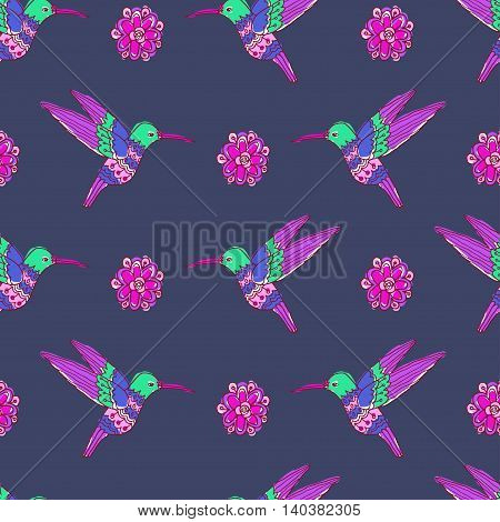Fairy garden. vector seamless pattern with hand drawn colibri and flowers
