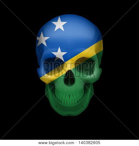 Human skull with flag of Solomon Islands. Threat to national security war or dying out
