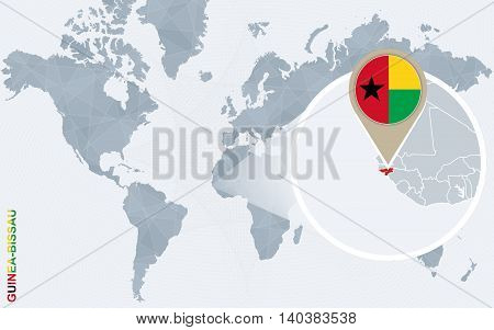 Abstract Blue World Map With Magnified Guinea-bissau.