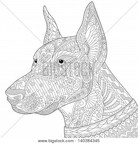 Stylized doberman pinscher dog isolated on white background. Freehand sketch for adult anti stress coloring book page with doodle and zentangle elements.