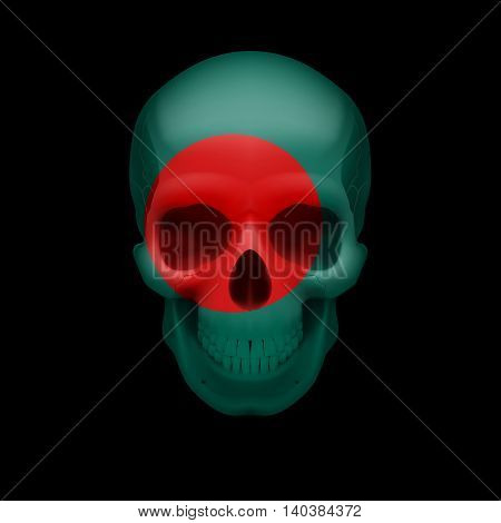 Human skull with flag of Bangladesh. Threat to national security war or dying out