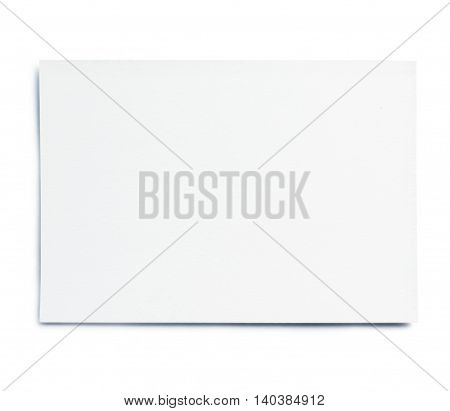 Blank business card, or sheet of paper. Isolated on White