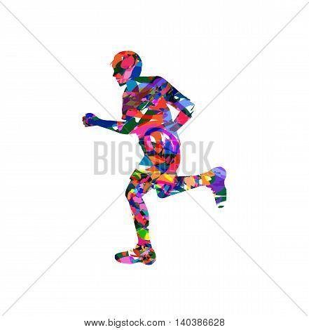 vector illustration of man running on white background