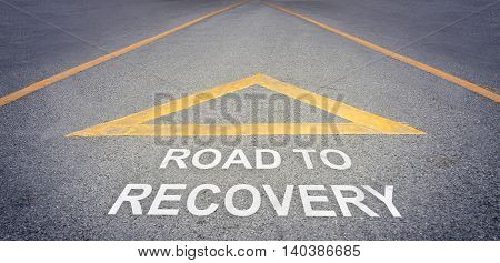 Road to recovery direction sign health concept