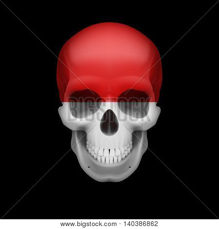 Human skull with flag of Monaco. Threat to national security war or dying out