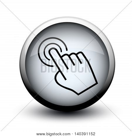 large cursor hand icon on button on white background