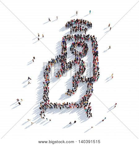 Large and creative group of people gathered together in the shape of a remote control. 3D illustration, isolated against a white background. 3D-rendering.