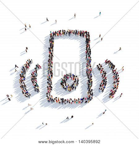 Large and creative group of people gathered together in the shape of a doorbell. 3D illustration, isolated against a white background. 3D-rendering.
