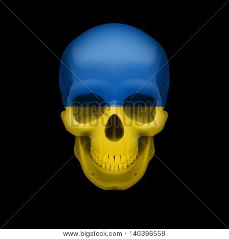 Human skull with flag of Ukraine. Threat to national security war or dying out