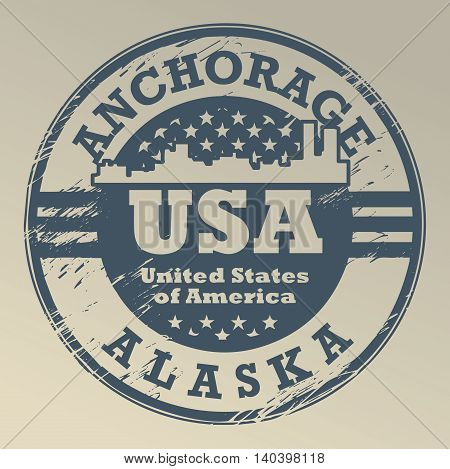 Grunge rubber stamp with name of Alaska, Anchorage, vector illustration