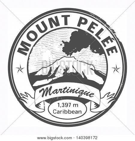 Grunge black stamp with words Mount Pelee, Martinique, vector illustration