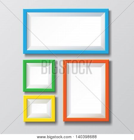Colorful blank picture frame. Empty colorful frames