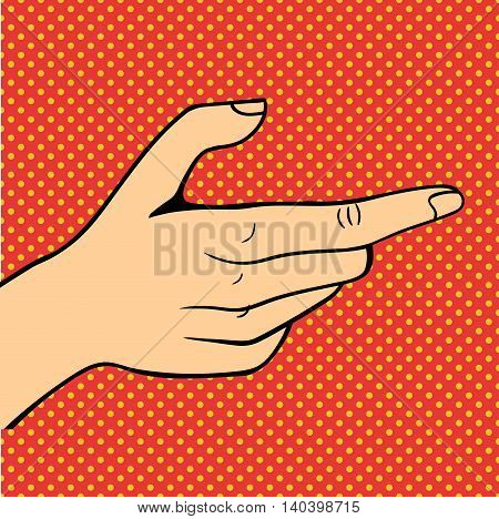 Human popart hand pose signal human fingers. Human hand isolated. Silhouette of hand showing symbols finger thumb vector illustration.