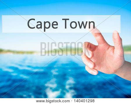 Cape Town - Hand Pressing A Button On Blurred Background Concept On Visual Screen.