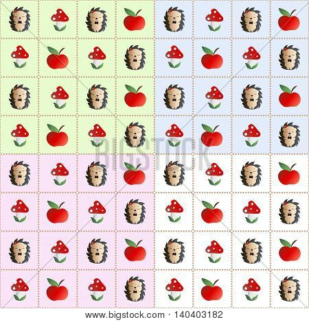 Four baby seamless pattern with mushroom with red cap, white dots and white stipe - fly bane, hedgehog with a bow tie and red apple on the his head, and red apples on a green, blue, pink and white background