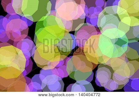 Blurred colored decagons on a black background