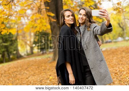 Young Women In The Autumn Forest