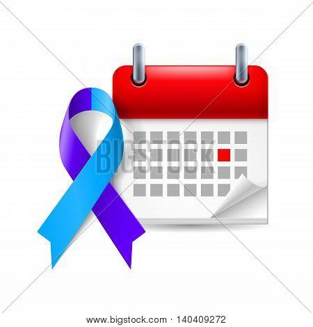 Blue and purple awareness ribbon and calendar with marked day. Rheumatoid arthritis symbol