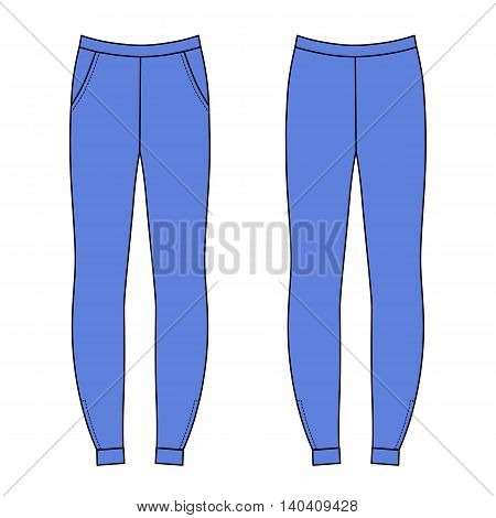Outlined sweatpants vector illustration isolated on white (front & back)