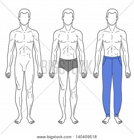 Fashion man outlined template full length front figure silhouette in sweatpants vector illustration isolated on white background